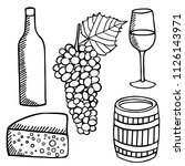 vector set   wine and... | Shutterstock .eps vector #1126143971
