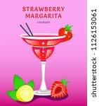 strawberry margarita. popular... | Shutterstock .eps vector #1126153061