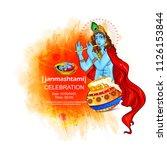 happy janmashtami festival of... | Shutterstock .eps vector #1126153844