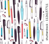 various stationery. hand drawn... | Shutterstock .eps vector #1126157711