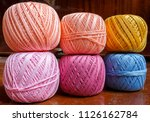 six skeins of colored yarn for... | Shutterstock . vector #1126162784