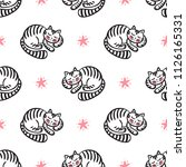 tabby cats vector seamless... | Shutterstock .eps vector #1126165331