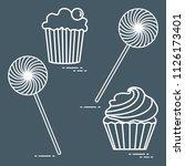 lollipops and cakes. design for ... | Shutterstock .eps vector #1126173401