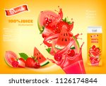 fresh juice with exotic fruits... | Shutterstock .eps vector #1126174844