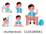 the daily routine of the child... | Shutterstock .eps vector #1126180061