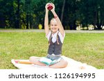 student is smiling happily and... | Shutterstock . vector #1126194995