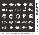 set of graphic insulating fish. ... | Shutterstock .eps vector #1126209077