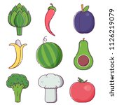 raw fruits and vegetables set... | Shutterstock .eps vector #1126219079