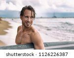 sexy surfer surfing man with... | Shutterstock . vector #1126226387