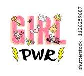 girl power lettering with girly ... | Shutterstock . vector #1126259687