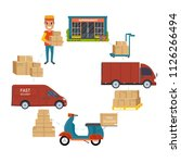 logistics and delivery service... | Shutterstock .eps vector #1126266494