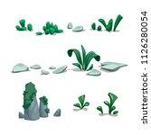 vector set of stones plants... | Shutterstock .eps vector #1126280054