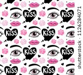 Stock vector vector card world kiss day seamless pattern background lips and kisses 1126284071