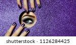 a girl with beautiful long...   Shutterstock . vector #1126284425