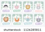 vector set of cute posters with ... | Shutterstock .eps vector #1126285811