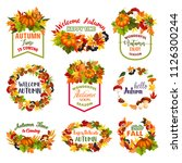 welcome autumn or hello fall... | Shutterstock .eps vector #1126300244