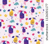 parrot seamless pattern | Shutterstock .eps vector #1126301177