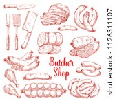Butcher shop meat products vector isolated sketch icons. Butchery gourmet delicatessen and gastronomy brats and frankfurter sausages. ham or hamon and bacon brisket, wiener and frankfurter salami