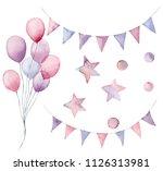 watercolor birthday set. hand...   Shutterstock . vector #1126313981