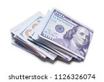 folded stack of cash isolated... | Shutterstock . vector #1126326074