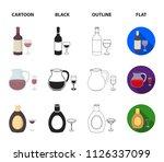 white wine  red wine  gin ... | Shutterstock .eps vector #1126337099