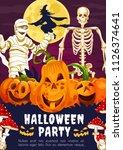 halloween party greeting banner ... | Shutterstock .eps vector #1126374641