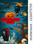 halloween party promotion... | Shutterstock .eps vector #1126375724