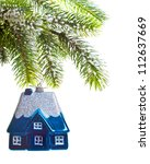 toy house on a new year's tree  ... | Shutterstock . vector #112637669