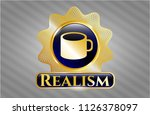 gold emblem with coffee cup... | Shutterstock .eps vector #1126378097