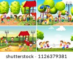 a set of children at playground ... | Shutterstock .eps vector #1126379381