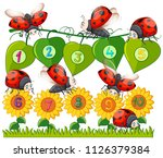 a number with ladybug and... | Shutterstock .eps vector #1126379384