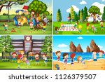 a set of children playing in... | Shutterstock .eps vector #1126379507