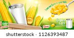 sweet corn ads with blank tin... | Shutterstock . vector #1126393487