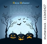 halloween background with... | Shutterstock .eps vector #112642427