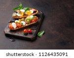 bruschetta with cherry tomatoes ... | Shutterstock . vector #1126435091