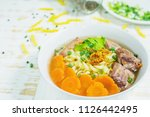 macaroni soup with pork and... | Shutterstock . vector #1126442495