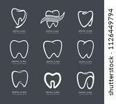 set of graphic teeth.  dental... | Shutterstock .eps vector #1126449794