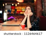 bored girl waiting for her date ... | Shutterstock . vector #1126464617
