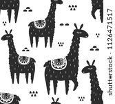 lamas  hand drawn backdrop.... | Shutterstock .eps vector #1126471517