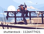 brutal cowboy with hat and... | Shutterstock .eps vector #1126477421