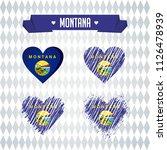 montana heart with flag inside. ... | Shutterstock .eps vector #1126478939
