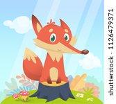 happy cartoon fox character.... | Shutterstock .eps vector #1126479371