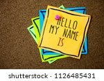 writing note showing  hello my... | Shutterstock . vector #1126485431