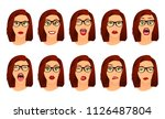 woman with glasses facial... | Shutterstock .eps vector #1126487804