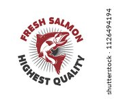 fresh salmon. seafood label... | Shutterstock .eps vector #1126494194