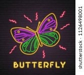 butterfly icon neon light... | Shutterstock .eps vector #1126498001