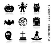 halloween black icons set  ... | Shutterstock .eps vector #112650641