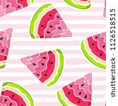 watermelon seamless pattern.... | Shutterstock .eps vector #1126518515