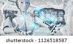 white woman cyborg on blurred...   Shutterstock . vector #1126518587