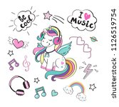 a beautiful unicorn with... | Shutterstock .eps vector #1126519754